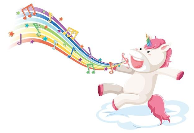 Simpatico unicorno che salta sulla nuvola con simboli di melodia sull'arcobaleno