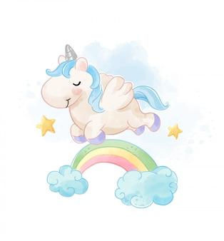 Unicorno sveglio che salta sopra l'illustrazione dell'arcobaleno