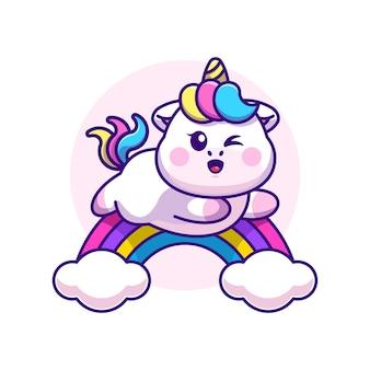 Unicorno sveglio che salta con il fumetto dell'arcobaleno