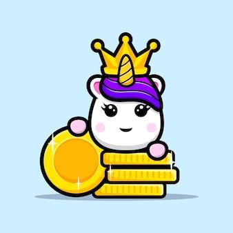 Simpatico re unicorno con design mascotte moneta d'oro