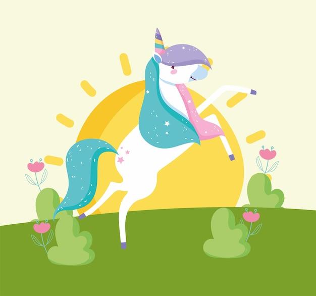Simpatico paesaggio di unicorni