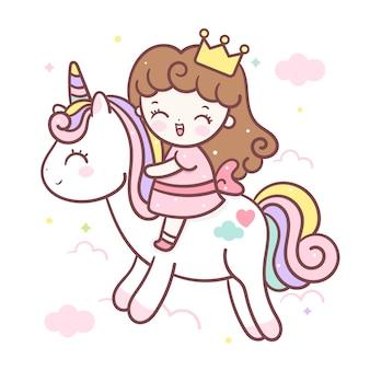 Unicorno carino e piccola principessa dei cartoni animati