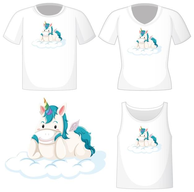 Logo di unicorno carino su diverse camicie bianche isolate su bianco