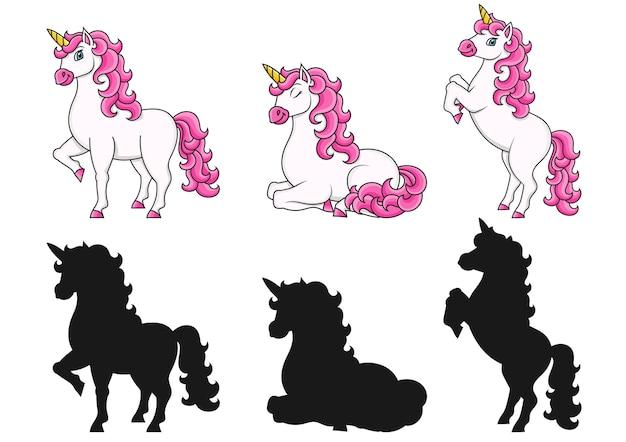 Unicorno carino cavallo fata magica personaggio dei cartoni animati sagoma nera