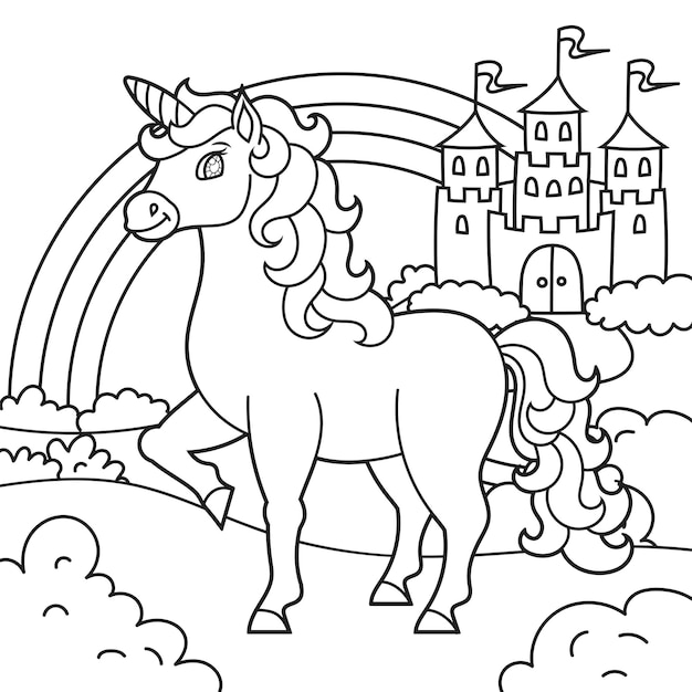 Unicorno carino cavallo magico delle fate paesaggio con un bellissimo castello pagina del libro da colorare per bambini