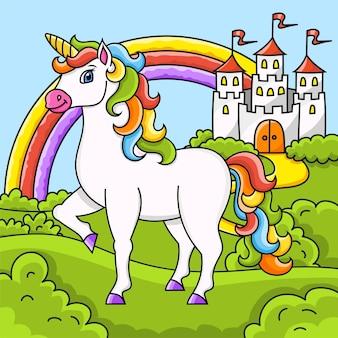 Unicorno carino cavallo magico delle fate paesaggio con un bellissimo castello