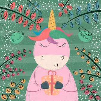 Carino unicorno nella foresta magica