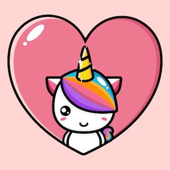 Simpatico design mascotte unicorno