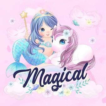 Unicorno carino e sirena