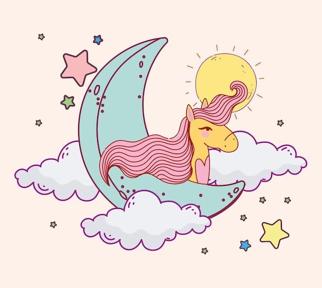 Simpatico unicorno luna