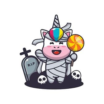 Simpatica mummia di unicorno che tiene caramelle simpatica illustrazione di cartone animato di halloween