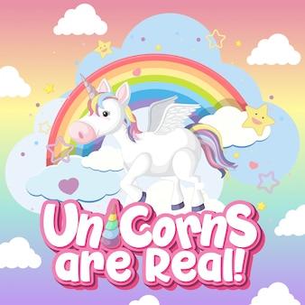 Unicorno carino sul colore di sfondo pastello
