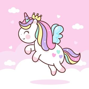Simpatico cartone animato di unicorno pegasus vola in stile kawaii skyt