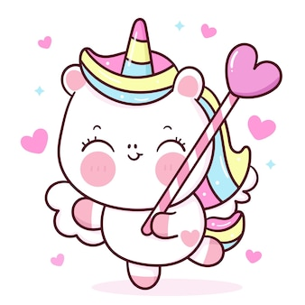 Simpatico cartone animato di pegaso unicorno che tiene la caramella del cuore per l'animale kawaii di san valentino