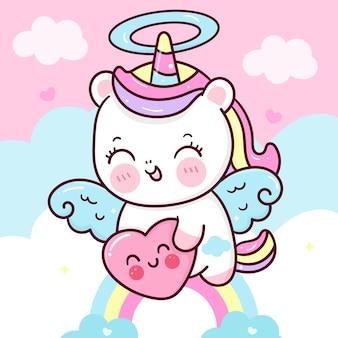 Il cuore sveglio della tenuta del fumetto di pegasus dell'unicorno vola sul cielo per l'animale di kawaii di san valentino