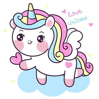 Cuore sveglio della tenuta del fumetto di pegasus dell'unicorno per l'animale di kawaii di san valentino