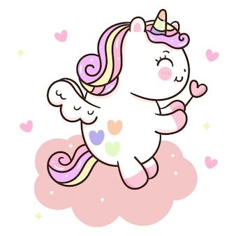 Fumetto sveglio di pegasus dell'unicorno che tiene la bacchetta magica sulla nuvola dolce
