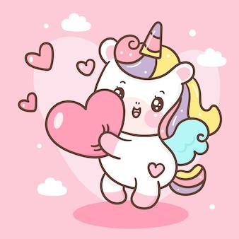 Simpatico cartone animato unicorno pegasus abbraccio cuore stile kawaii