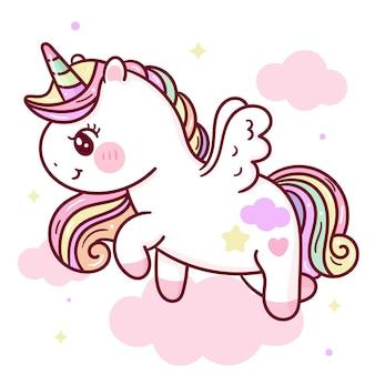 Cartone animato carino unicorno pegaso su nuvola dolce