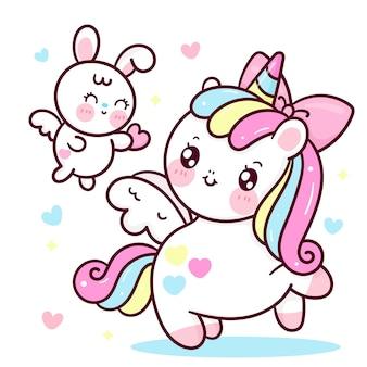 Simpatico cartone animato di pegaso unicorno con coniglio coniglio dà cuore kawaii animale