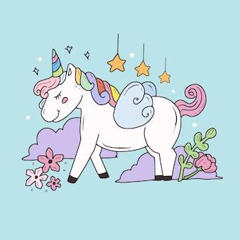 Fumetto di disegno di pegaso unicorno carino