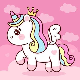 Simpatico cartone animato unicorno pegasus principessa volare sul cielo animale kawaii
