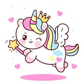 Simpatico cartone animato unicorno pegaso principessa che tiene bacchetta magica kawaii animale