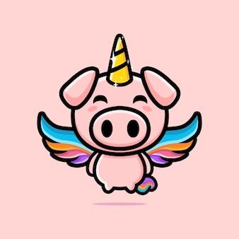 Simpatico design mascotte maiale unicorno