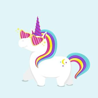 Unicorno carino in occhiali rosa. illustrazione vettoriale piatto.