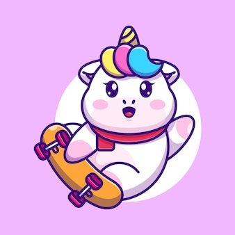 Unicorno carino gioca a skateboard cartoon