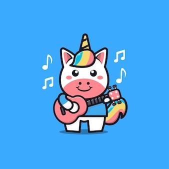 Unicorno carino suonare la chitarra fumetto illustrazione