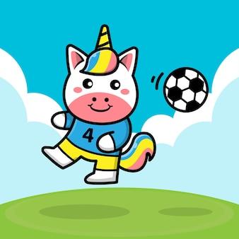 Unicorno carino che gioca a pallone da calcio fumetto illustrazione