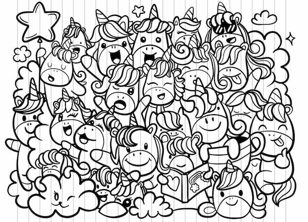 Simpatica collezione di unicorni e pony con oggetti magici, stile linea disegnata a mano. per la progettazione di libri da colorare, illustrazioni di scarabocchi vettoriali.