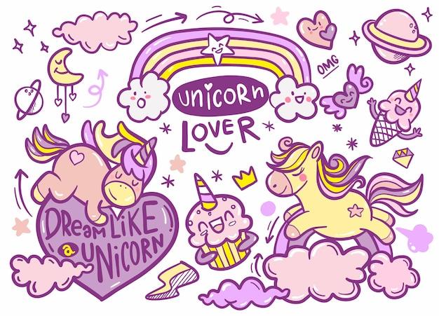 Simpatica collezione di unicorni e pony con oggetti magici, arcobaleno, ali di fata, cristalli, nuvole, pozione. stile della linea disegnata a mano. illustrazioni di scarabocchi vettoriali.