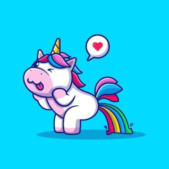 Carino unicorn poop rainbow cartoon illustrazione vettoriale. vettore isolato di concetto di amore animale. stile cartone animato piatto