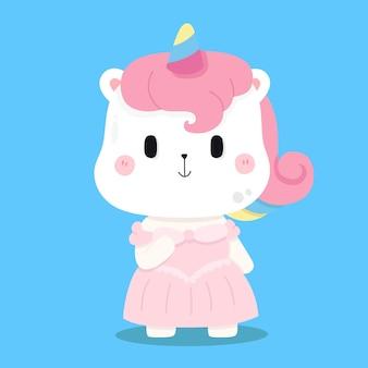 Illustrazioni di animali del fumetto principessa unicorno carino