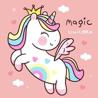 Simpatico cartone animato principessa unicorno con ala di pegaso