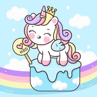 Principessa unicorno carino su cupcake con arcobaleno kawaii