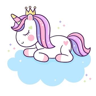 Sogno dolce principessa unicorno carino sulla nuvola