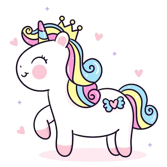 Disegnato a mano animale di kawaii di vettore principessa unicorno carino