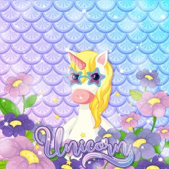 Unicorno carino su sfondo di squame di pesce arcobaleno