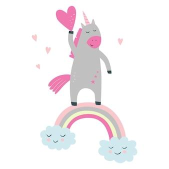 L'unicorno carino sull'arcobaleno tiene il cuore in stile cartone animato vettore
