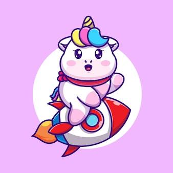 Simpatico cartone animato di razzo equitazione unicorno