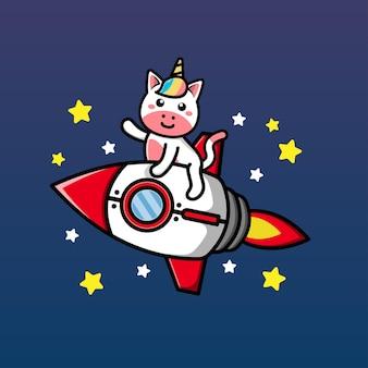 Simpatico unicorno a cavallo di un razzo e agitando la mano fumetto illustrazione