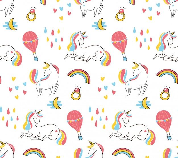 Sfondo senza giunte di unicorno carino