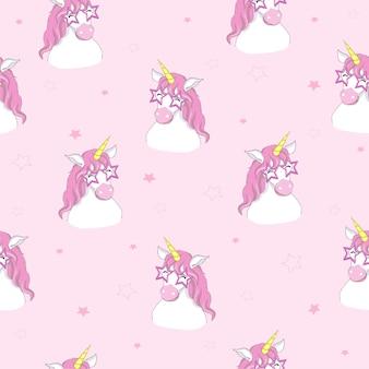Modello senza cuciture unicorno carino