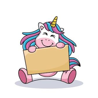 Illustrazione dell'icona di vettore del fumetto timido unicorno carino. concetto di icona di natura animale isolato vettore premium.
