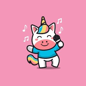 Illustrazione del fumetto di canto di unicorno carino