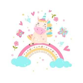 L'unicorno carino si siede su un arcobaleno. illustrazione semplice su uno sfondo isolato.