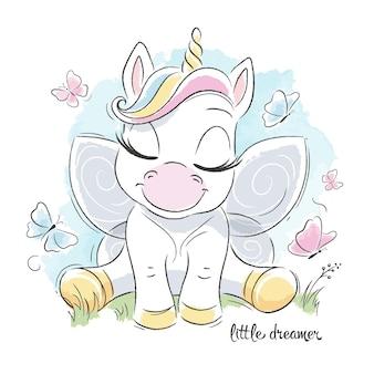 Unicorno carino seduto sull'erba, piccola illustrazione sognatore